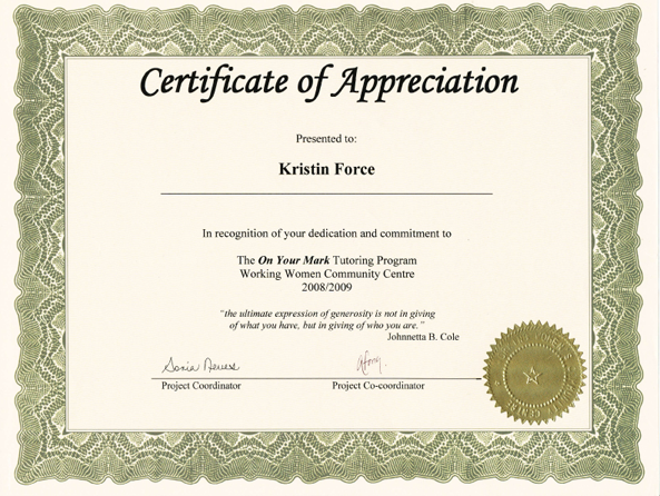 volunteer of the year certificate template - volunteer appreciation award certificate template foto