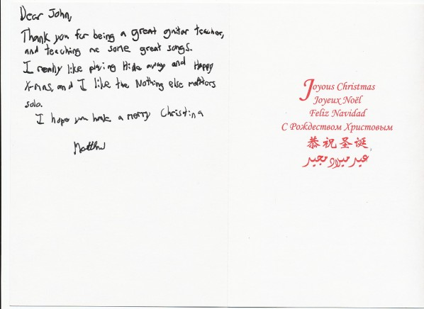 thank you for being a great guitar teacher and teaching me some great songs this very nice christmas card