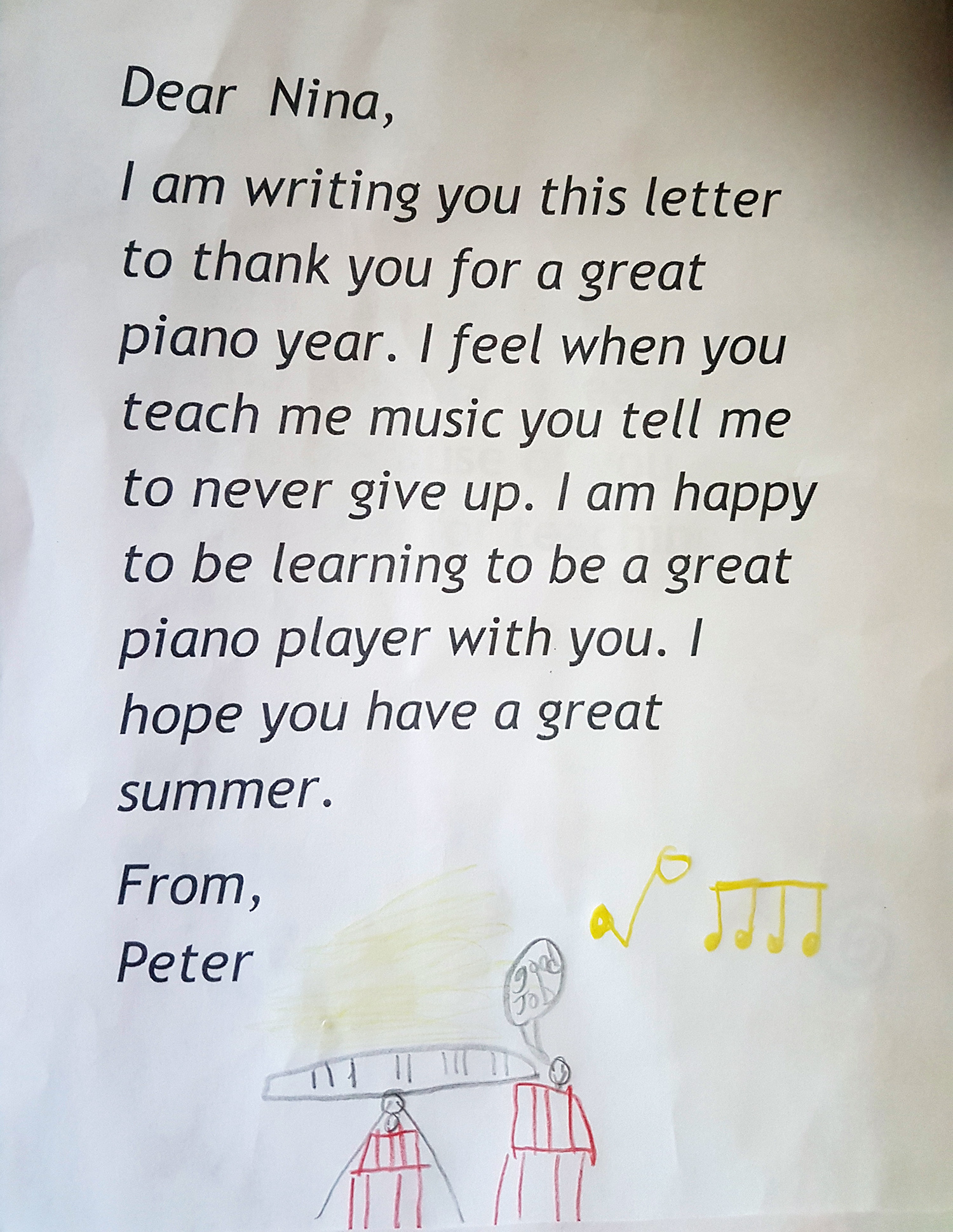 A Thank You Card To Piano Teacher Nina From Her Student Peter