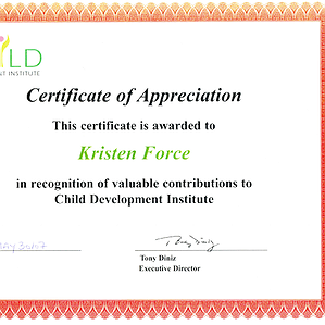 Certificate of Appreciation for Kristin