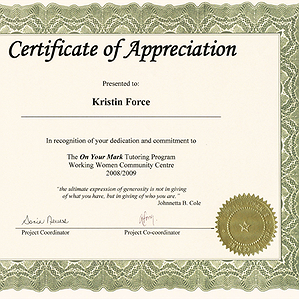 Kristins Certificate of Appreciation 2