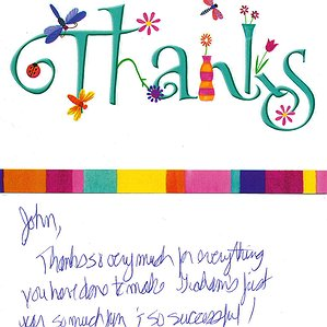 A Thank You Card from Graham to John